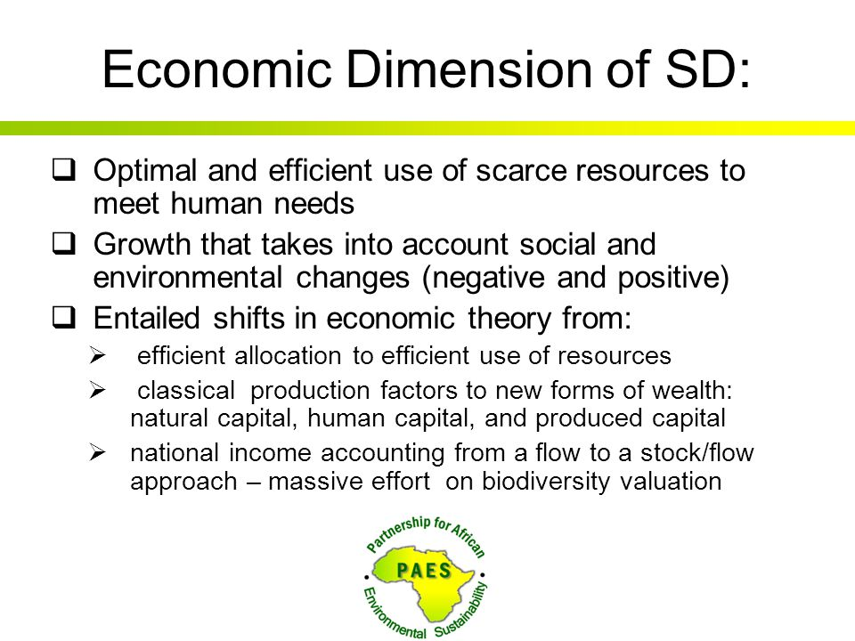 Economic Dimension of SD: