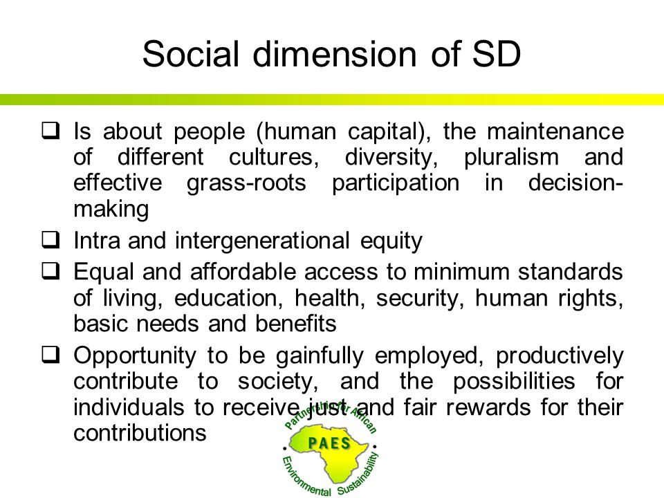 Social dimension of SD