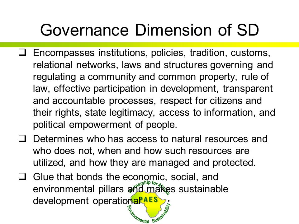 Governance Dimension of SD