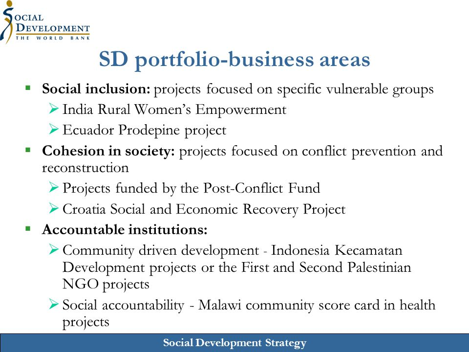 SD portfolio-business areas