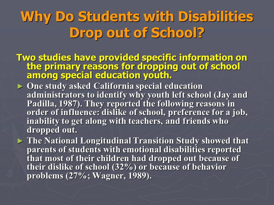 Why Do Students with Disabilities Drop out of School