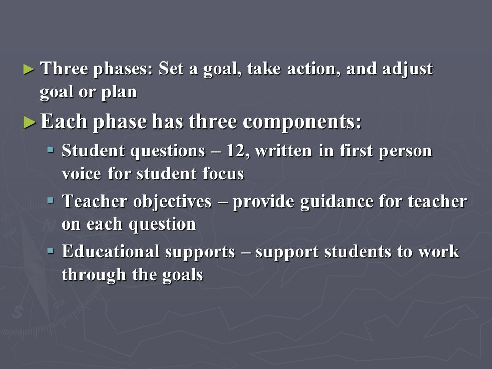 Each phase has three components: