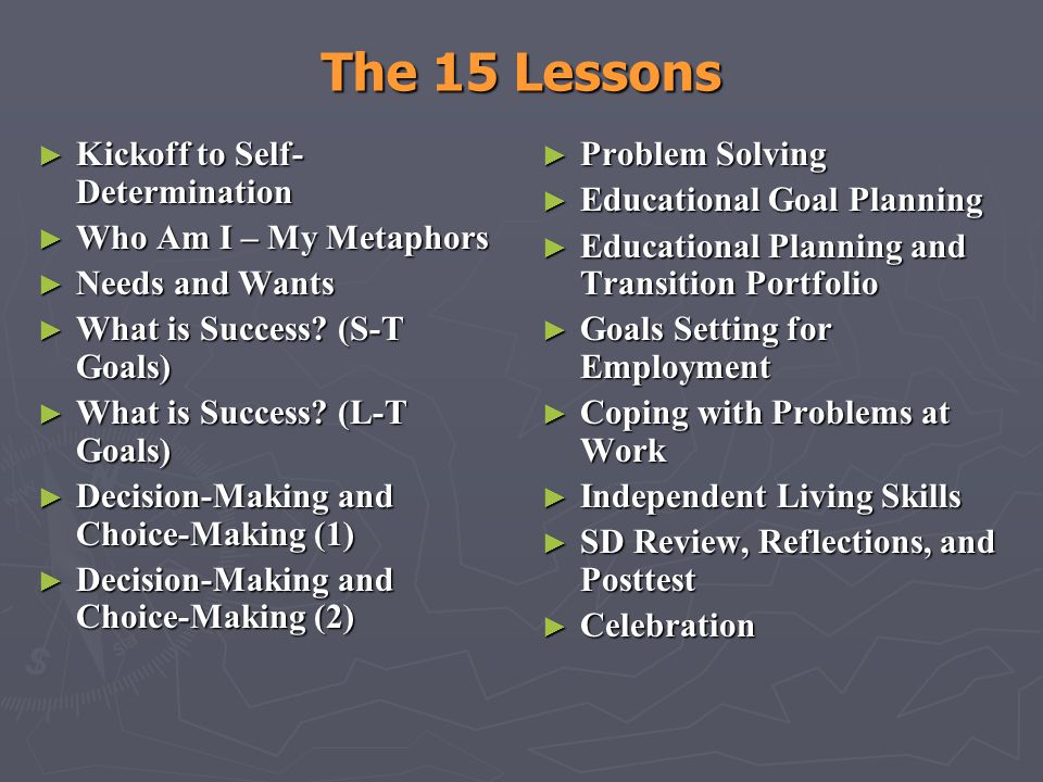 The 15 Lessons Kickoff to Self-Determination Who Am I – My Metaphors