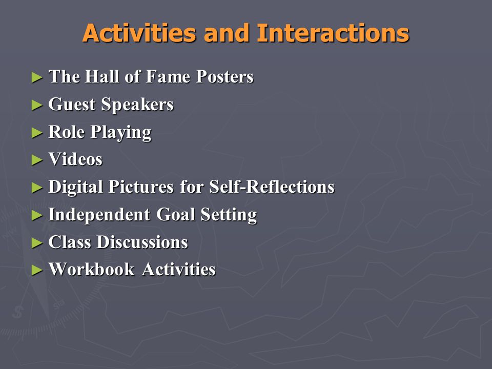 Activities and Interactions