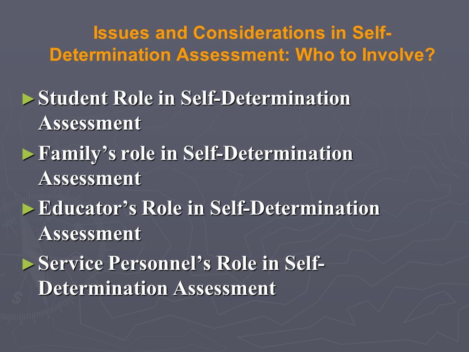 Student Role in Self-Determination Assessment