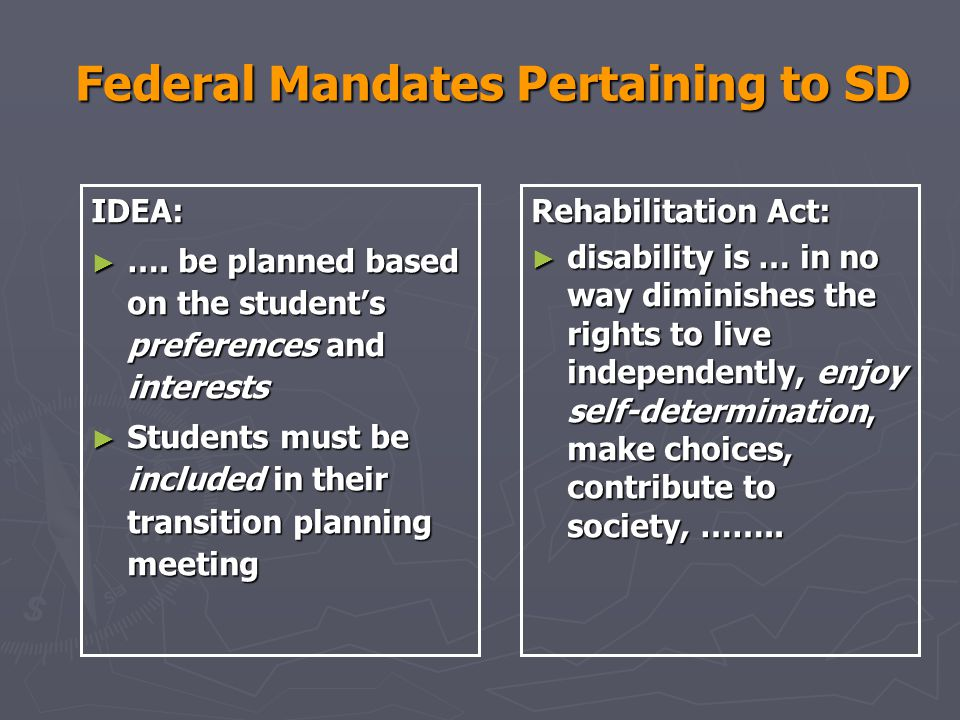 Federal Mandates Pertaining to SD