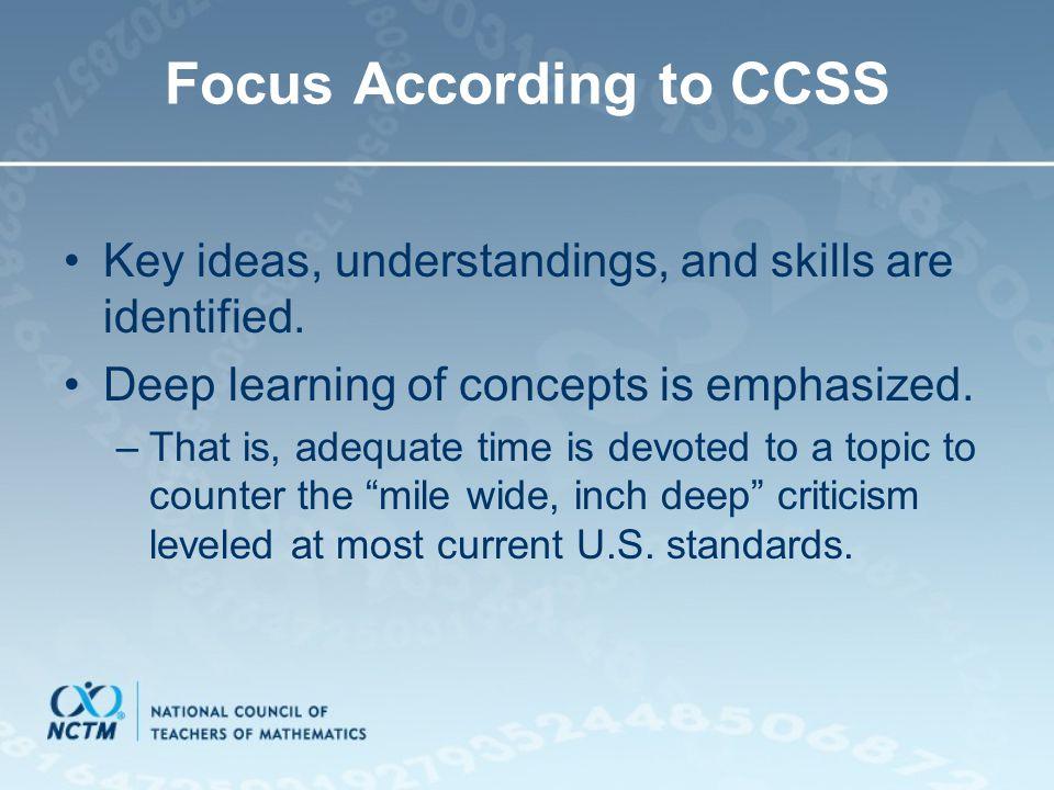 Focus According to CCSS