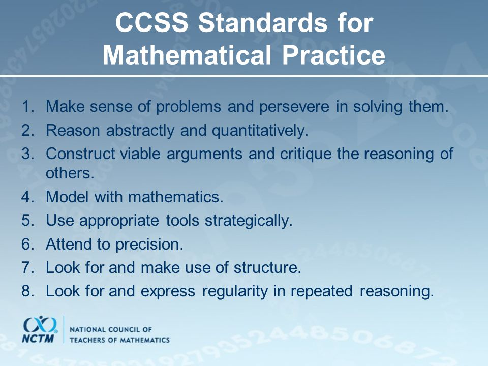 CCSS Standards for Mathematical Practice