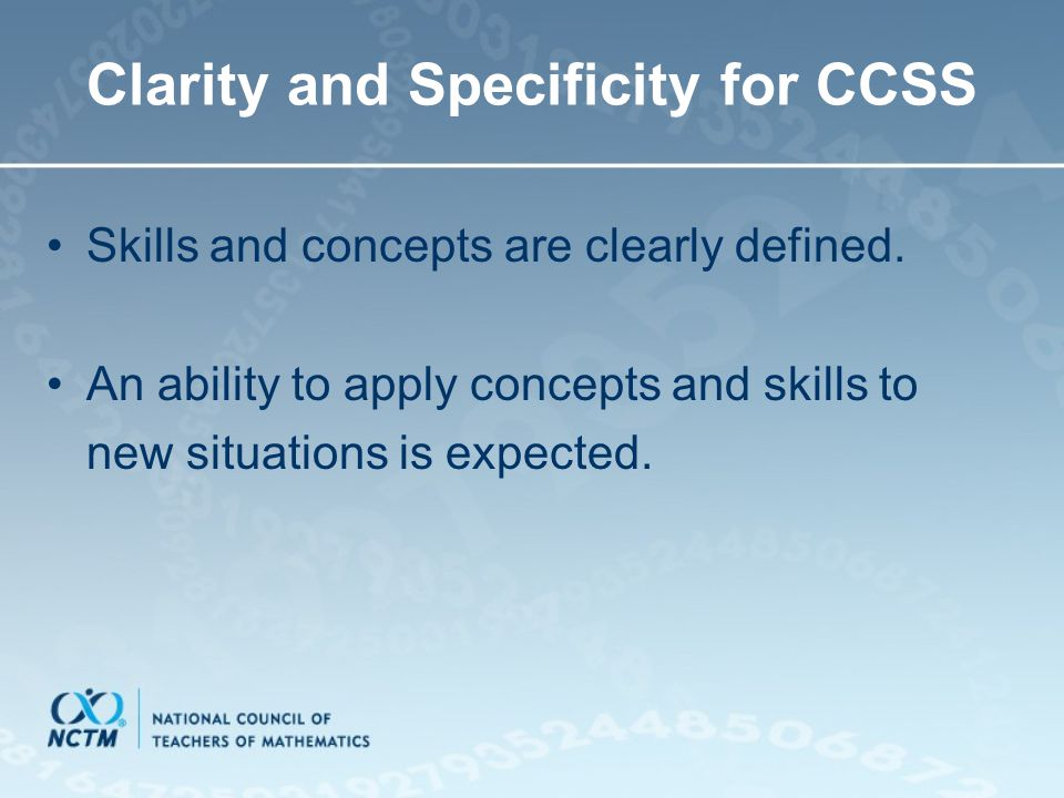 Clarity and Specificity for CCSS