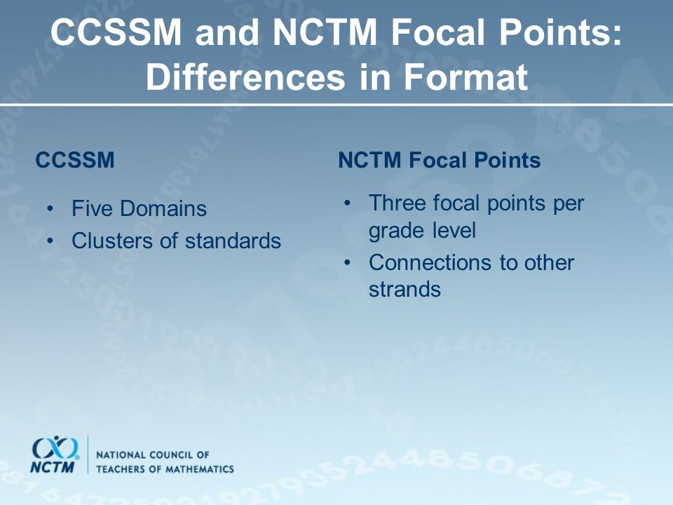 CCSSM and NCTM Focal Points: Differences in Format