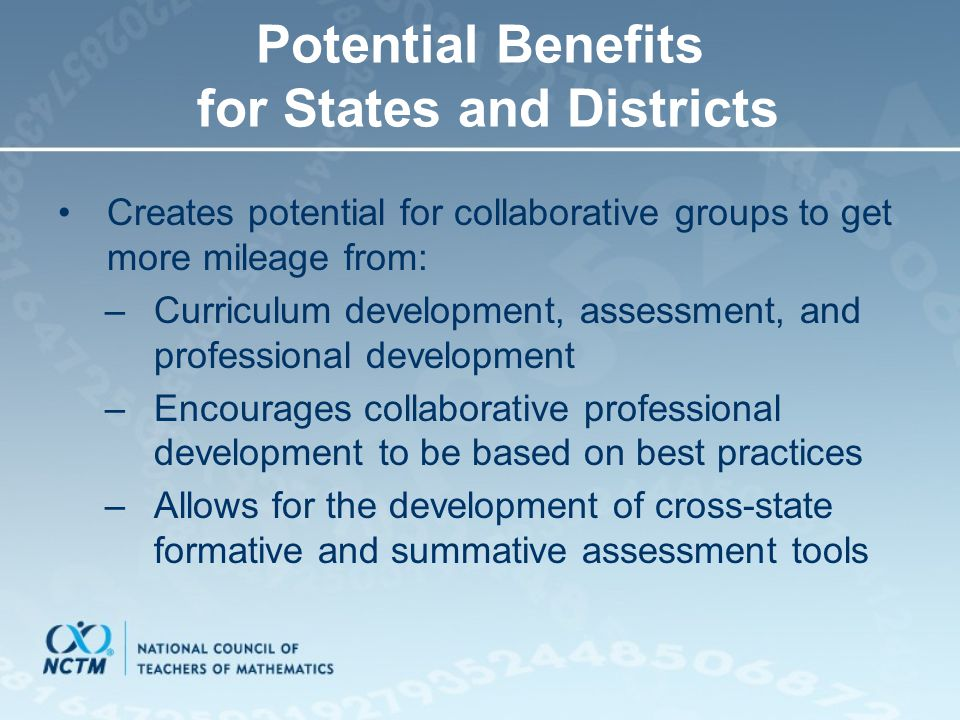 Potential Benefits for States and Districts