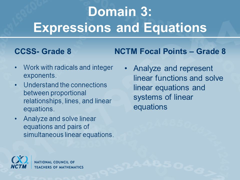 Domain 3: Expressions and Equations