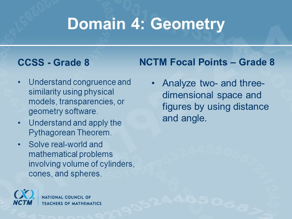 Domain 4: Geometry NCTM Focal Points – Grade 8 CCSS - Grade 8