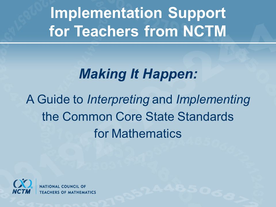 Implementation Support for Teachers from NCTM