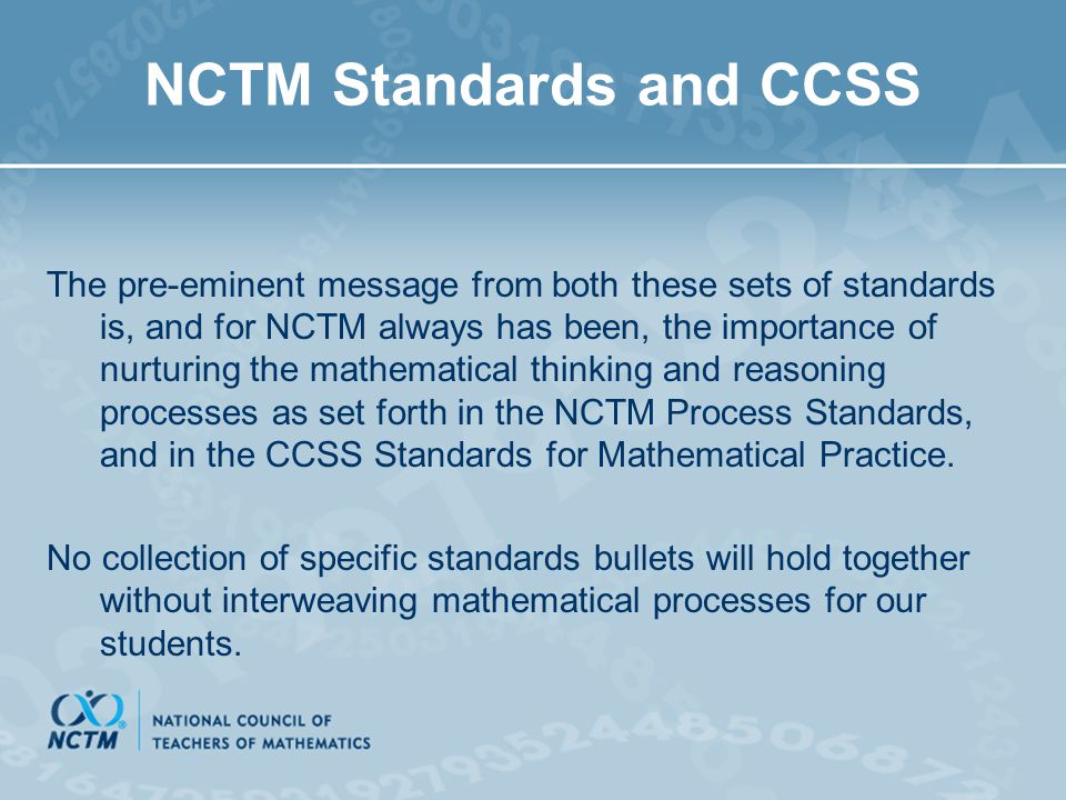 NCTM Standards and CCSS