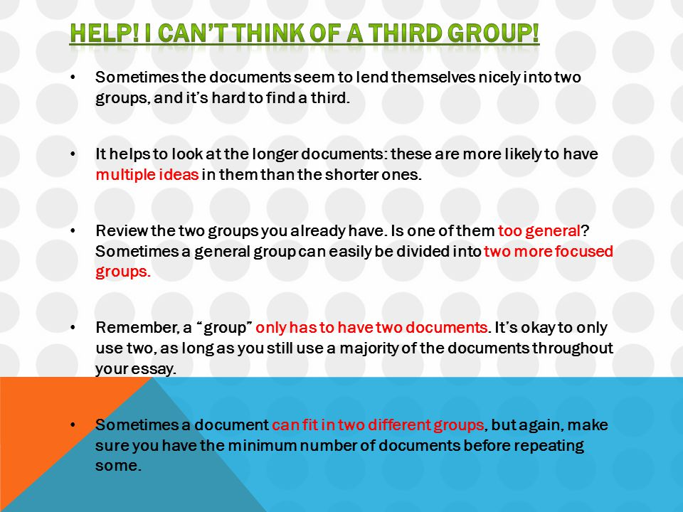 Help! I can't think of a third group!