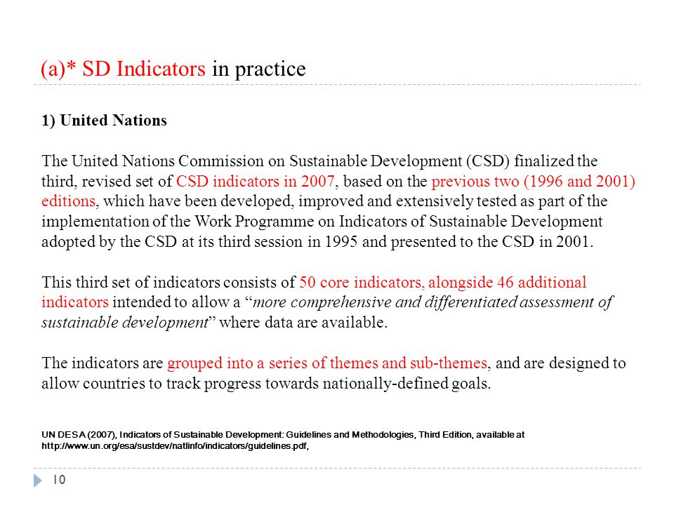 (a)* SD Indicators in practice