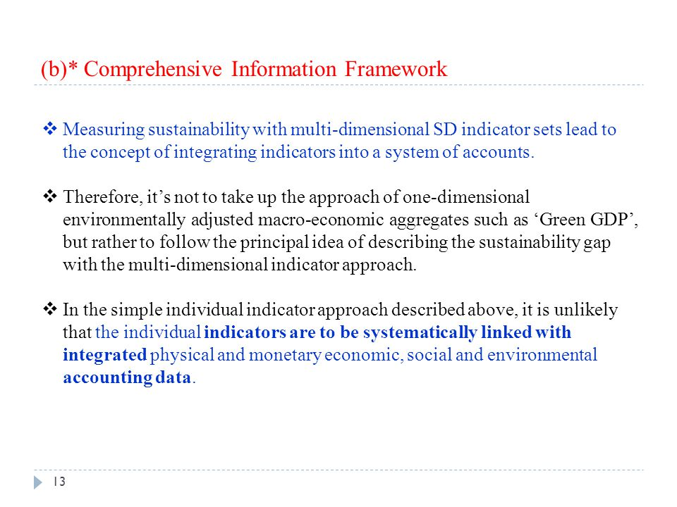 (b)* Comprehensive Information Framework