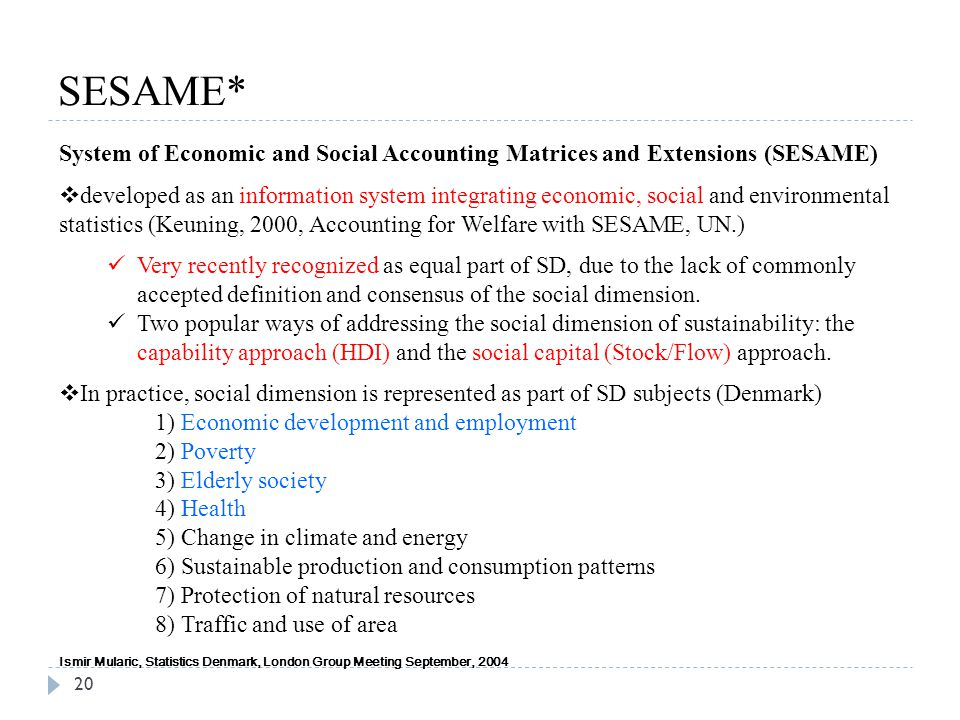 SESAME* System of Economic and Social Accounting Matrices and Extensions (SESAME)
