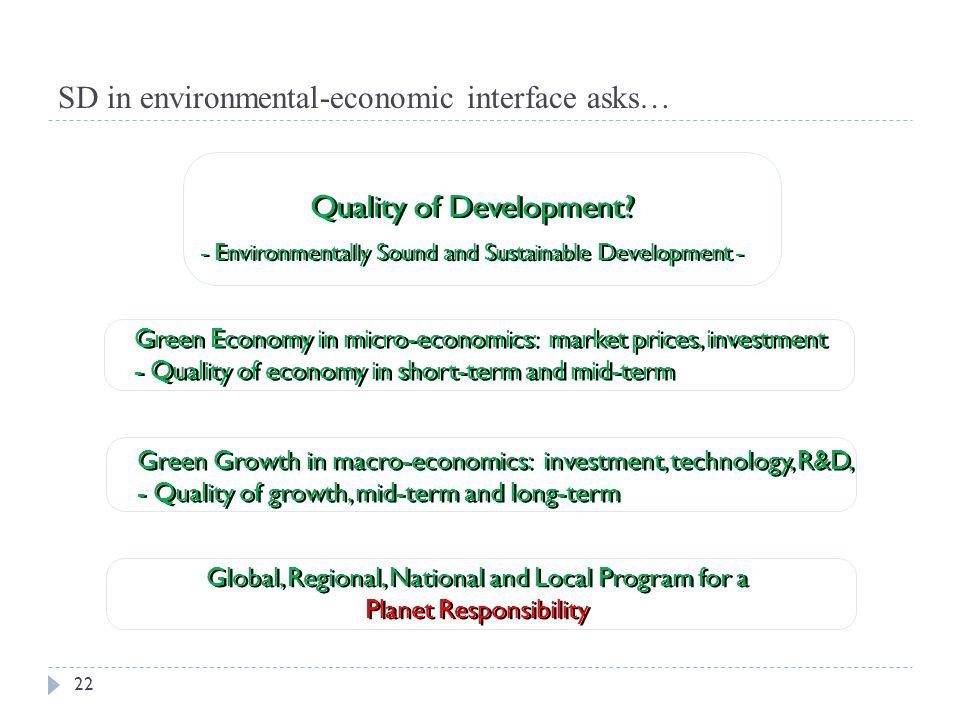 SD in environmental-economic interface asks…