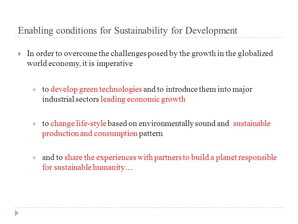 Enabling conditions for Sustainability for Development