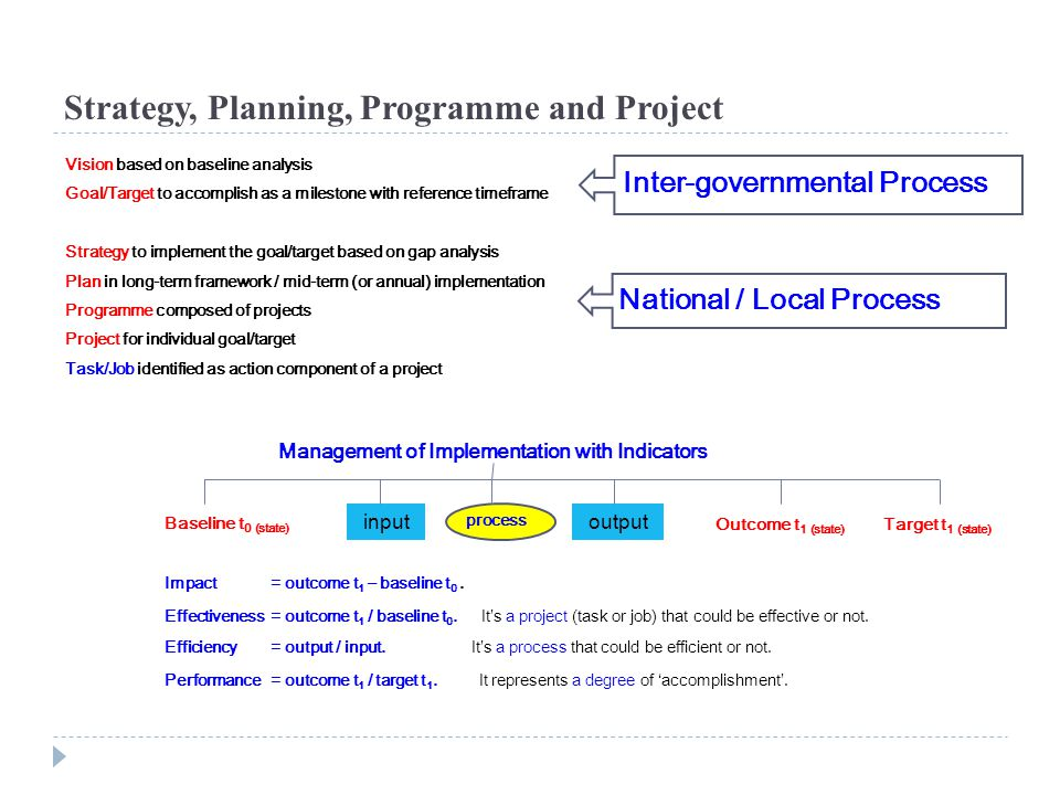 Strategy, Planning, Programme and Project