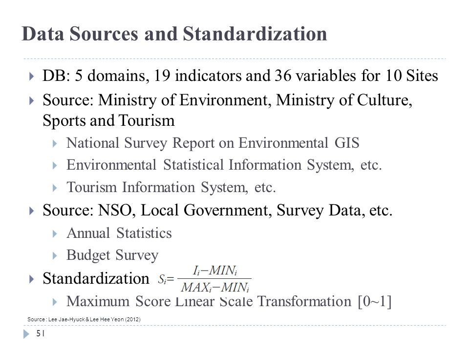 Data Sources and Standardization