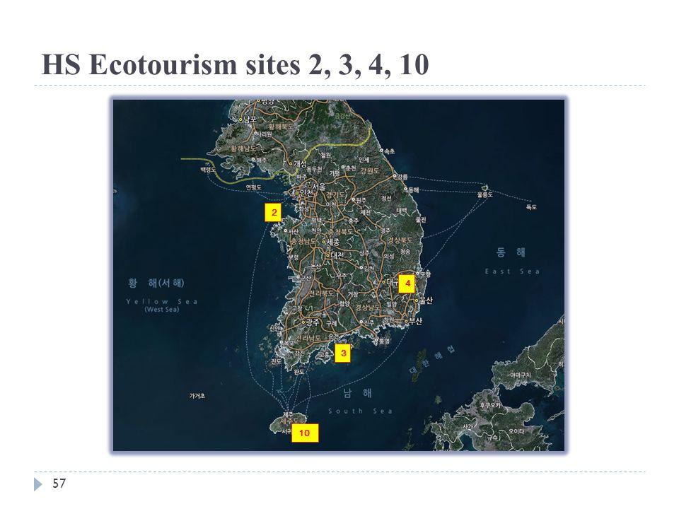 HS Ecotourism sites 2, 3, 4, 10 2 4 3 10 57