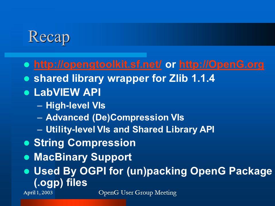 OpenG User Group Meeting