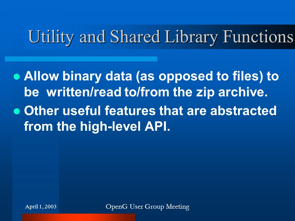 Utility and Shared Library Functions