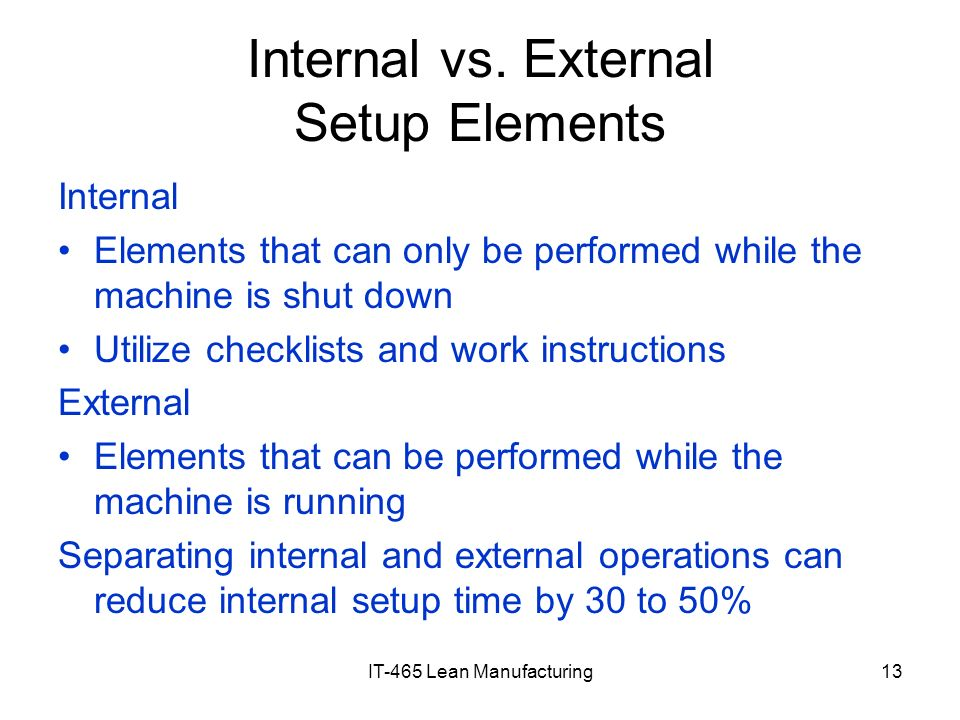 Internal vs. External Setup Elements