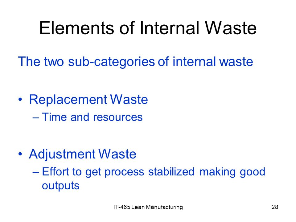 Elements of Internal Waste
