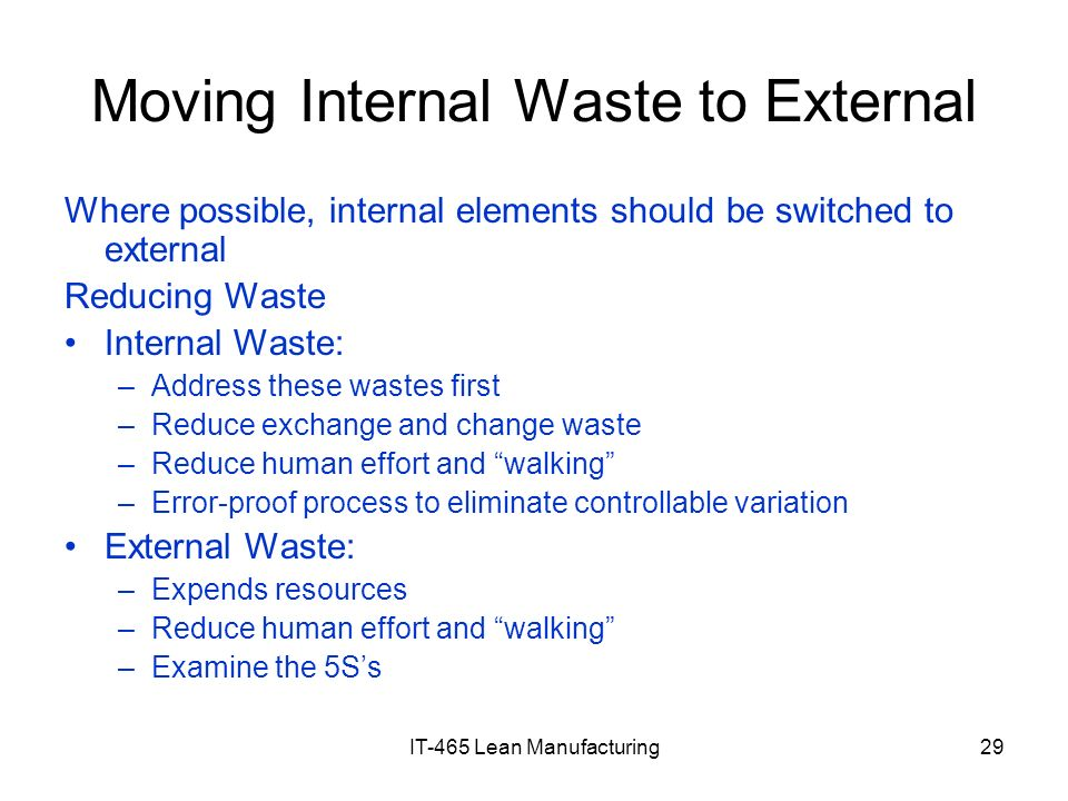 Moving Internal Waste to External