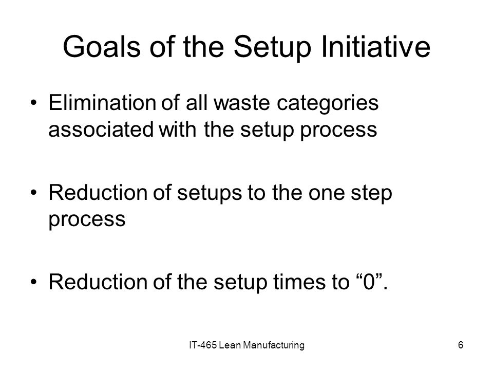 Goals of the Setup Initiative
