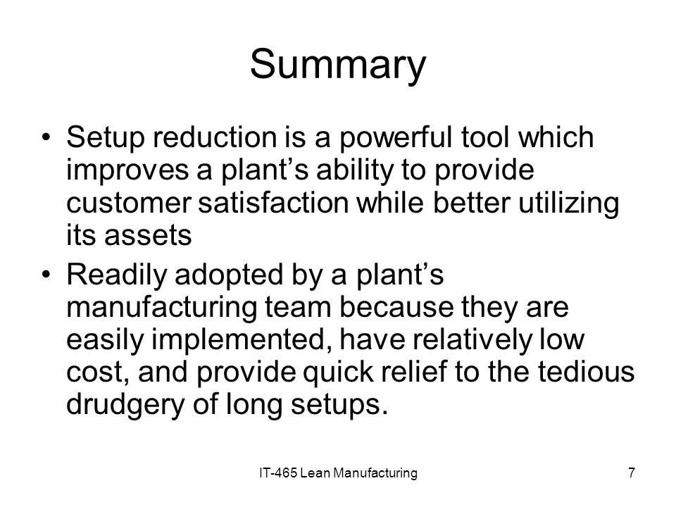 IT-465 Lean Manufacturing