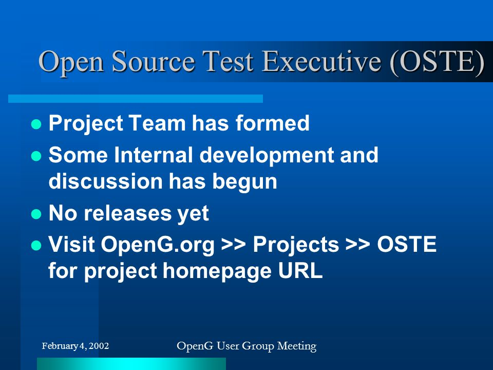Open Source Test Executive (OSTE)