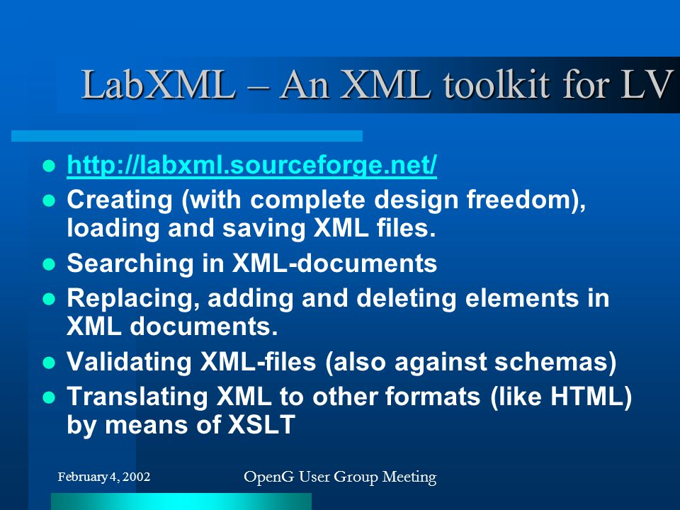 LabXML – An XML toolkit for LV
