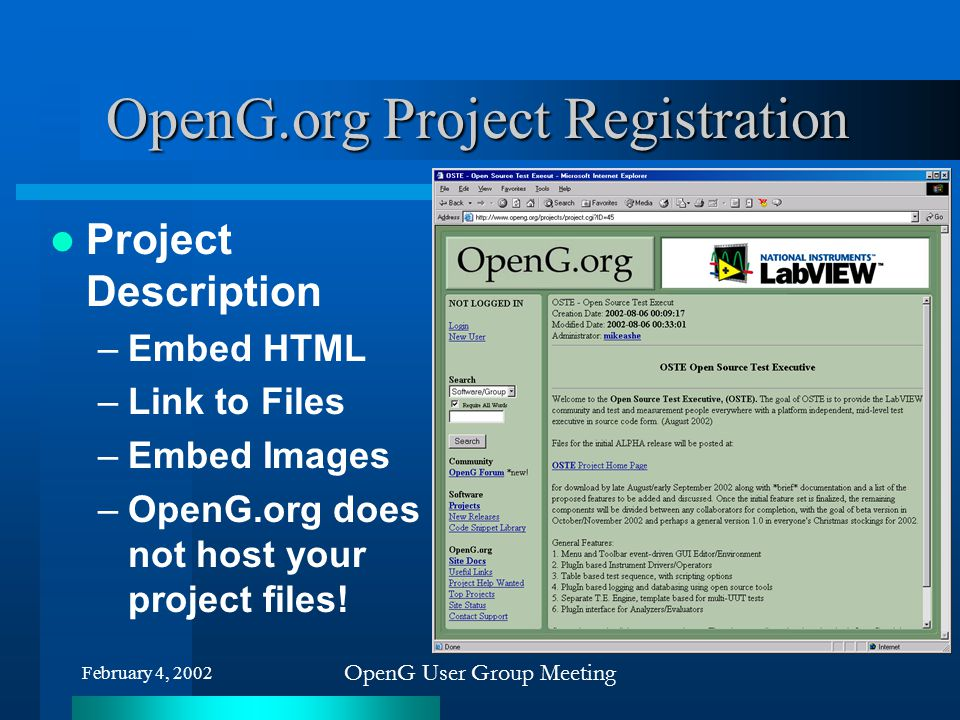 OpenG.org Project Registration