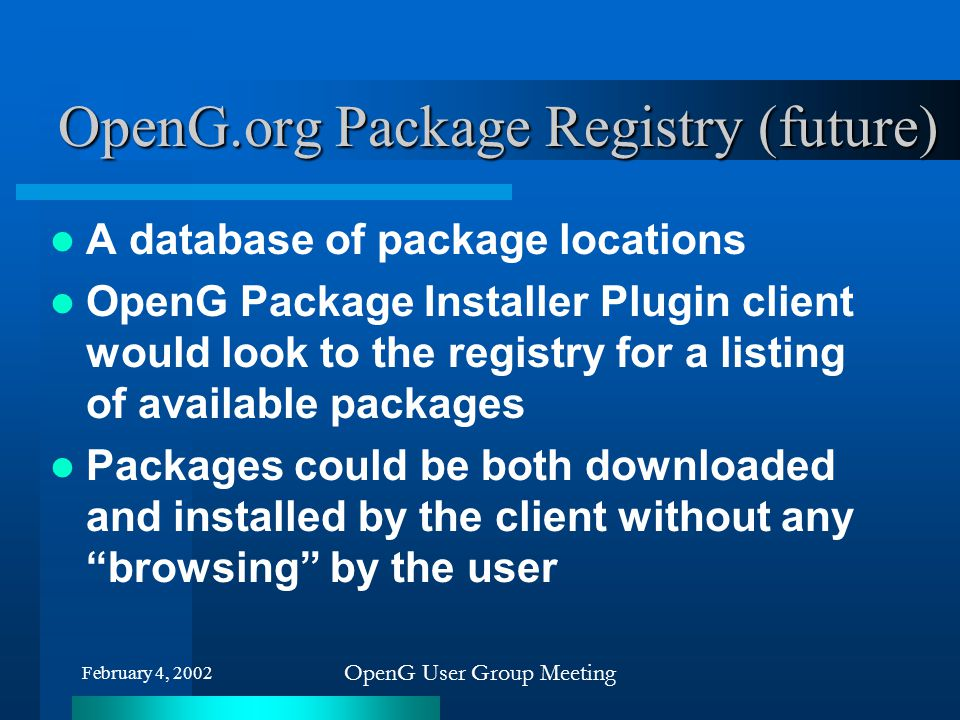 OpenG.org Package Registry (future)