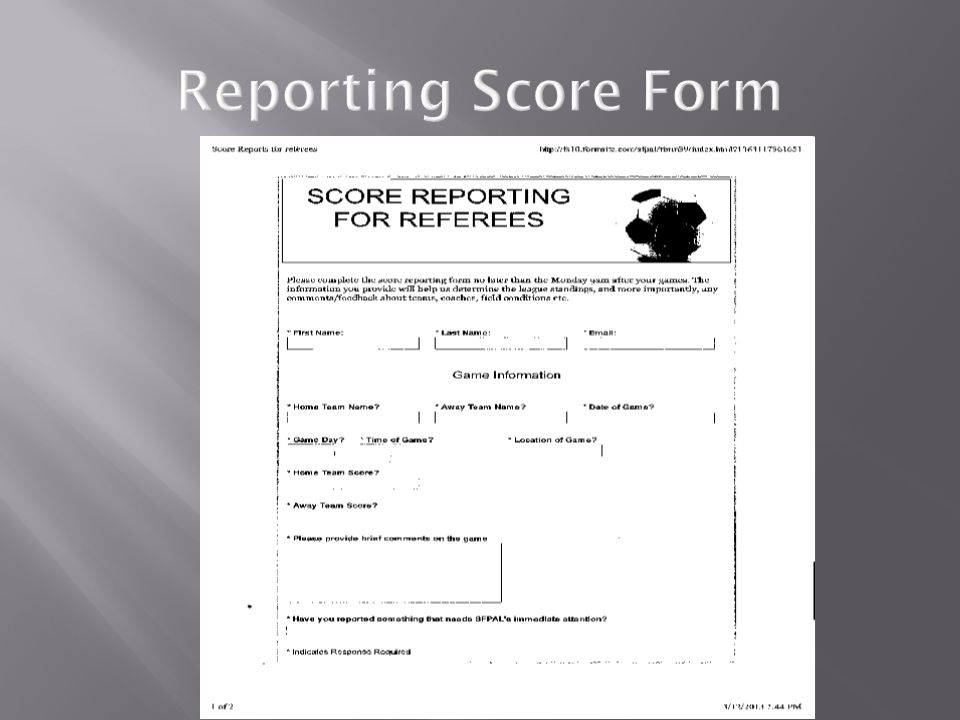 Reporting Score Form