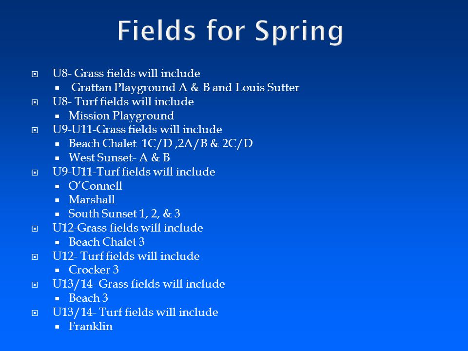 Fields for Spring U8- Grass fields will include