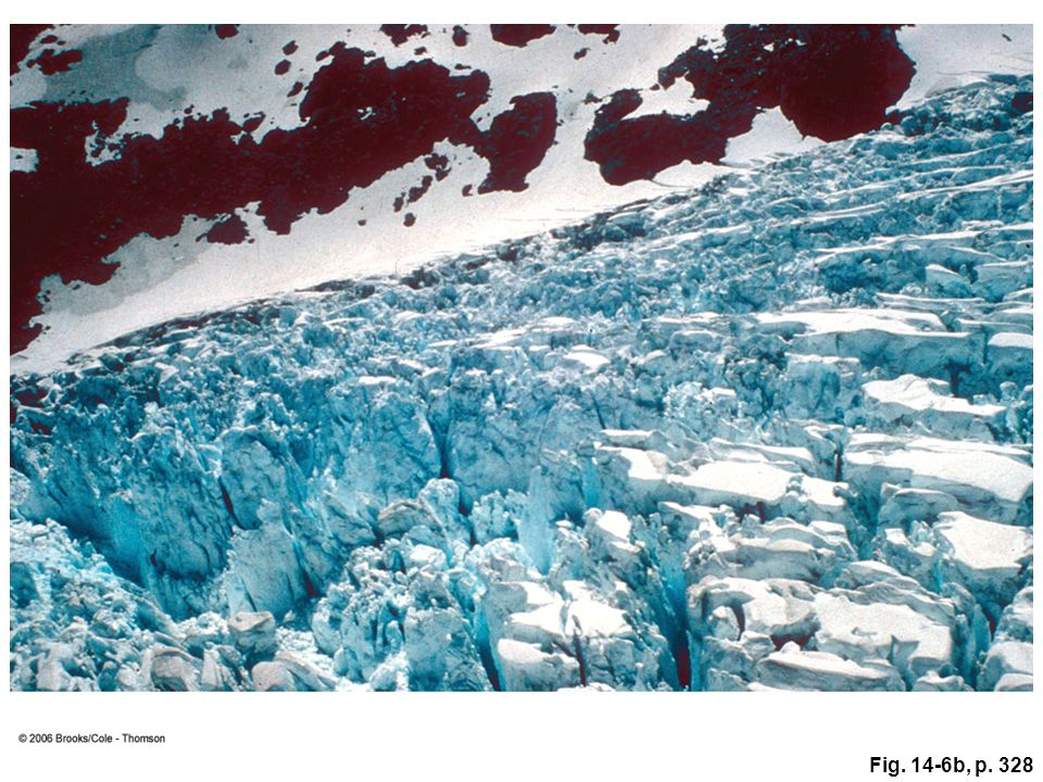 Figure 14.6b: Deep crevasses are visible in summer on the top of Franz Josef Glacier in New Zealand. In winter, most glacial crevasses are covered in snow. Mountain climbers must be careful that they don't punch through a snow bridge and fall into a crevasse.