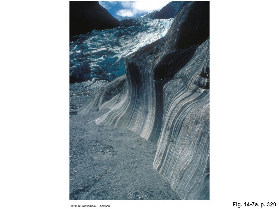 Figure 14.7a: The rock face on this valley wall in New Zealand has been polished smooth by glacial abrasion.