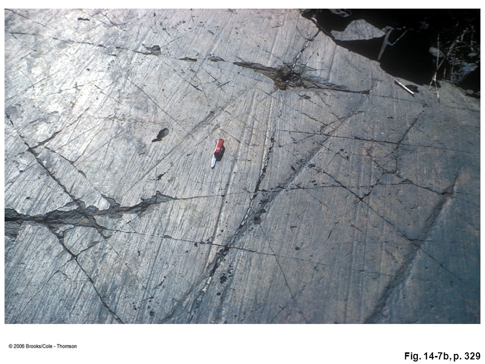 Figure 14.7b: Both glacial polish and glacial striations created during the Permian Period are visible on this rock in Australia. A penknife provides a sense of scale.