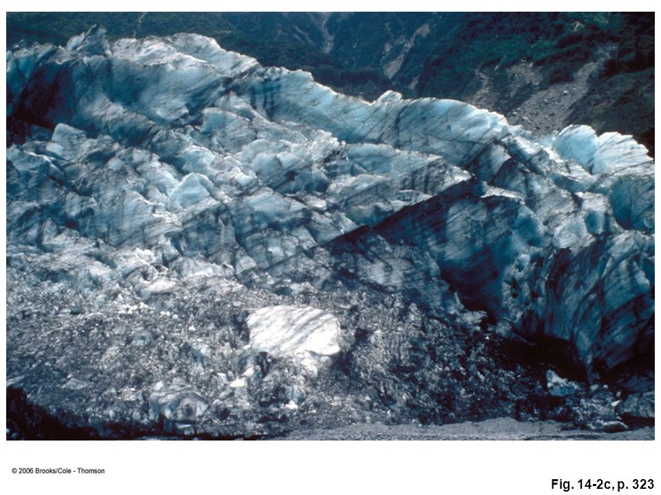 Figure 14.2c: The blue color common to glacial ice is visible here in New Zealand. Much of white light is absorbed by ice, but blue light is transmitted and scattered, giving the ice a blue hue.