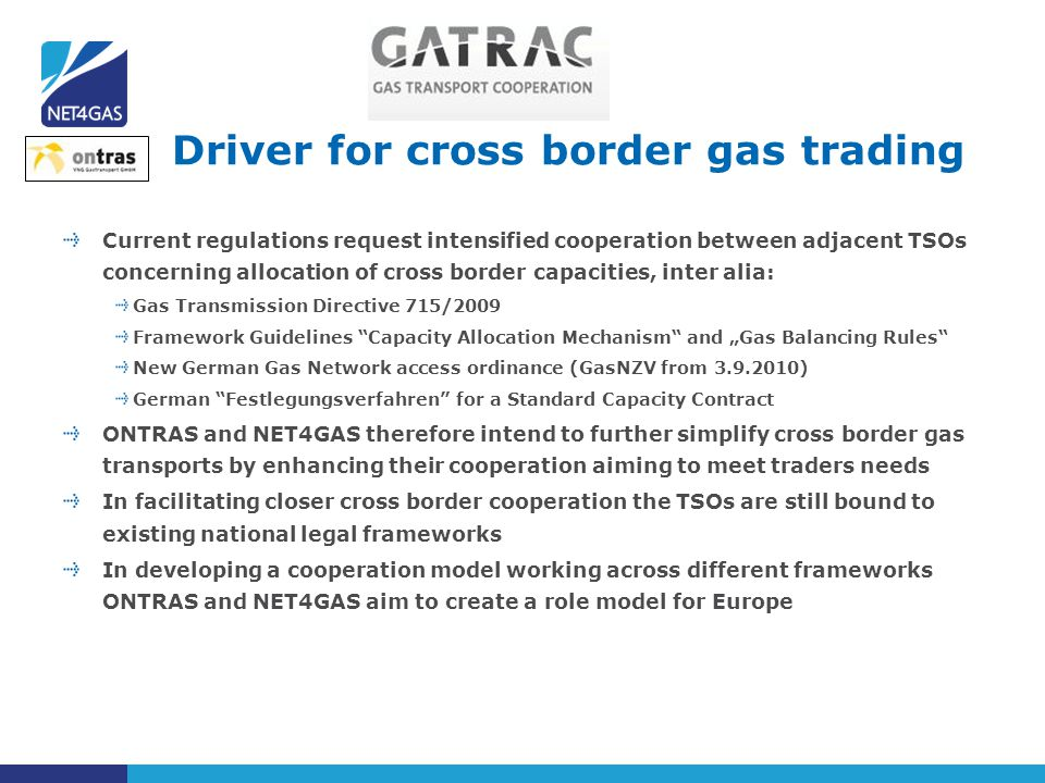 Driver for cross border gas trading