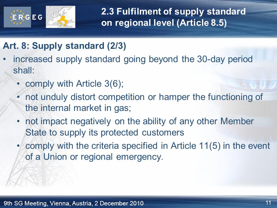 2.3 Fulfilment of supply standard on regional level (Article 8.5)