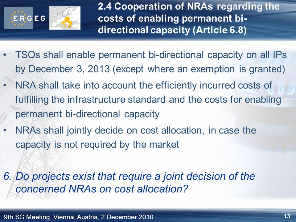 2.4 Cooperation of NRAs regarding the costs of enabling permanent bi-directional capacity (Article 6.8)