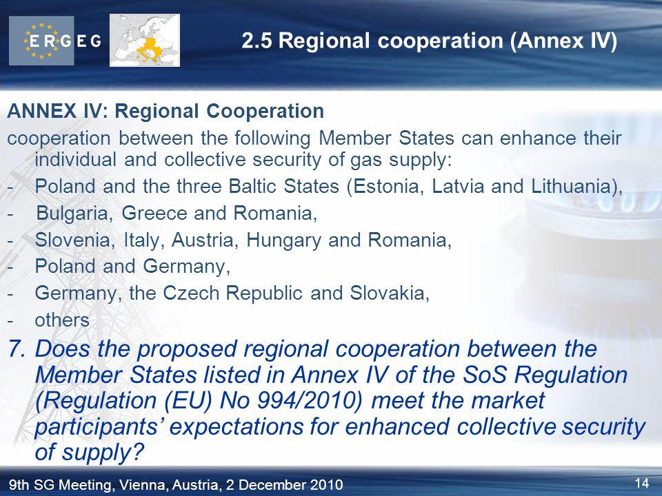 2.5 Regional cooperation (Annex IV)