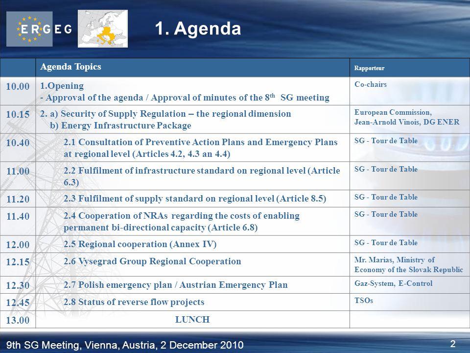 1. Agenda Agenda Topics. Rapporteur. 10.00. Opening. Approval of the agenda / Approval of minutes of the 8th SG meeting.
